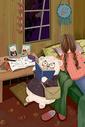 可爱小熊看书插画图片