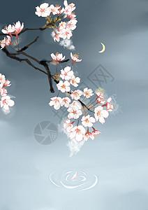 中国风水墨樱花图片