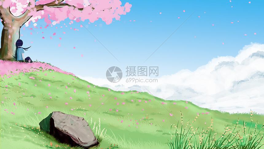 动漫春暖花开_等候春暖花开插画图片下载-正版图片400066625-摄图网