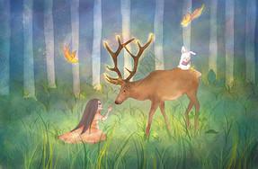 女孩与鹿温馨插画图片