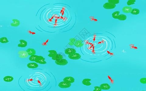 手绘池塘风景唯美插画背景图片