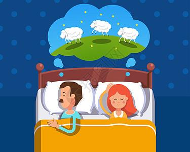 一起睡觉数绵羊图片