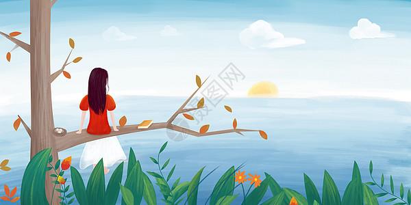 坐在树上看书看海的女孩图片