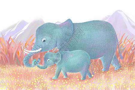 大象亲子插画图片