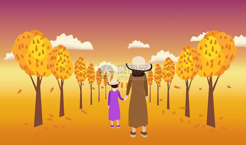 秋天妈妈陪女儿散步图片