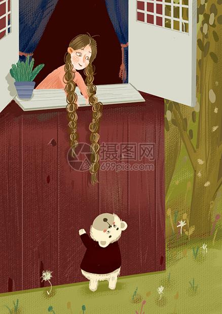 插画小女孩与人图片
