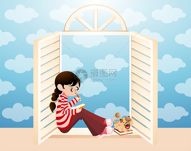窗边看书的女孩图片