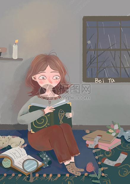 靠墙看书的女孩图片