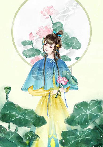 荷花 中国风少女图片