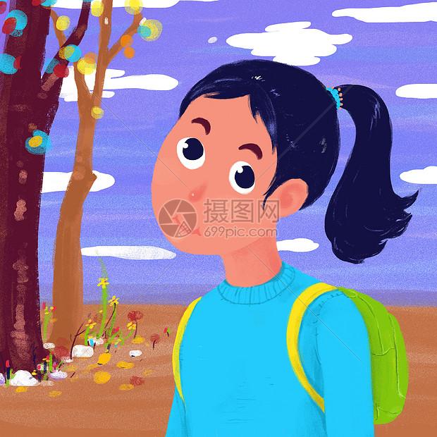 上学的女孩图片