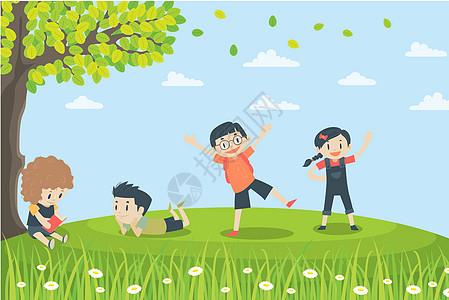 孩子们在树下看书玩耍图片