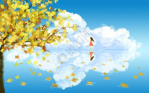 秋天湖边落叶图片