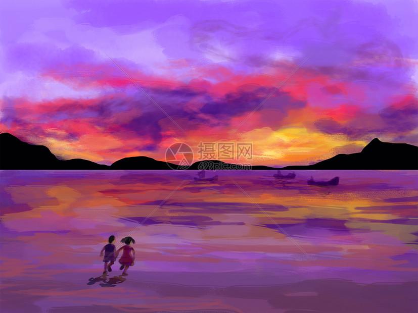 唯美图片 自然风景 晚霞与大海手绘psd  分享: qq好友 微信朋友圈 qq