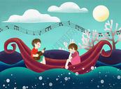 在船上给女孩唱歌的男孩图片