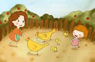 喂小鸡的妈妈和女儿图片