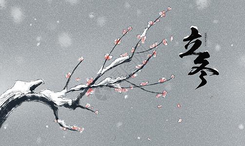 立冬白茫茫雪地背景图图片