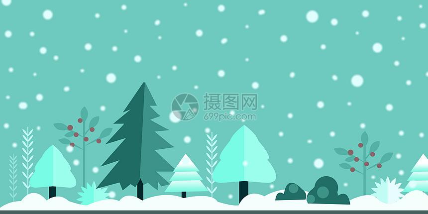 冬日雪景插画图片