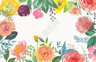 水彩花卉花朵边款背景图片