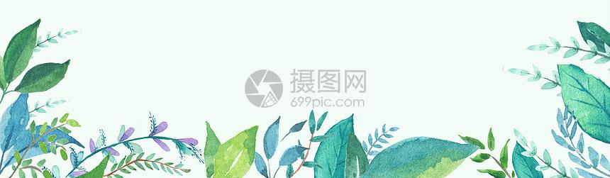 小清新绿叶背景素材图片