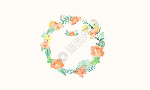 小清新水彩花朵花环图片