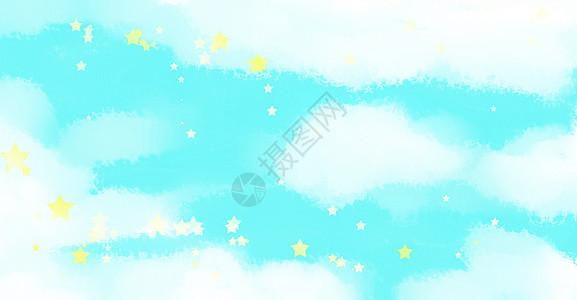 手绘水彩唯美蓝天白云背景高清图片