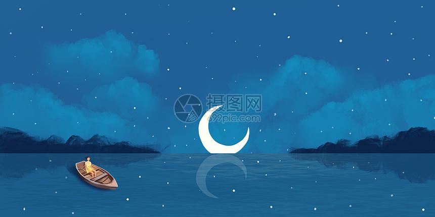 月亮星空治愈系插画图片