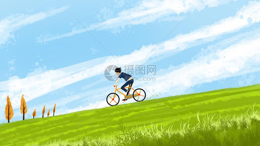 蓝天下驰骋的少年插画图片