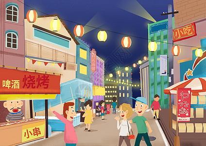 夜市烧烤插画图片