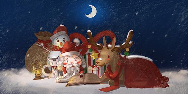 圣诞节平安夜插画图片