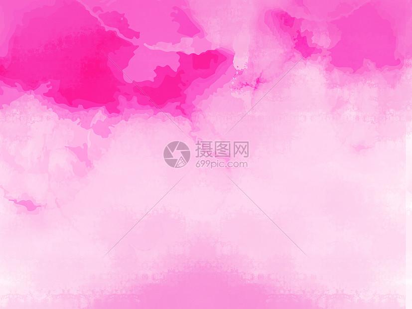 粉红色手绘水彩浪漫背景