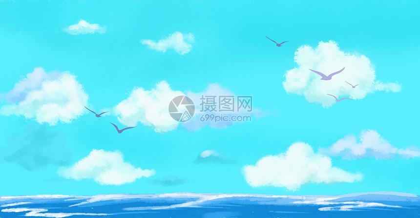 手绘唯美海面天空背景