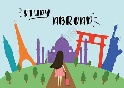 出国留学的女孩图片