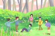 捉迷藏儿童插画图片