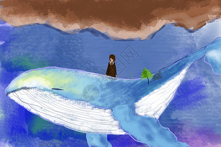 大海与鲸鱼手绘插画图片