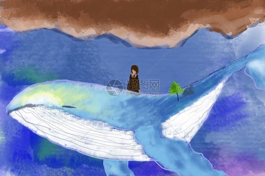 大海与鲸鱼手绘插画