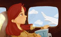 治愈系插画飞行旅行阅读背景图片