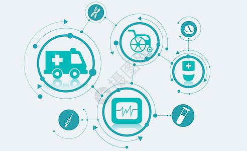 医疗生物科技扁平化矢量图图片