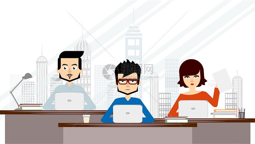 扁平化办公室人物图片素材_免费下载_svg图片格式_vrf
