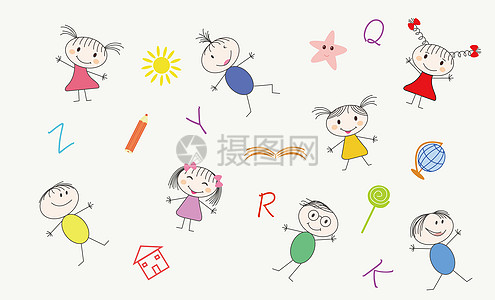 卡通小孩文具儿童背景图片