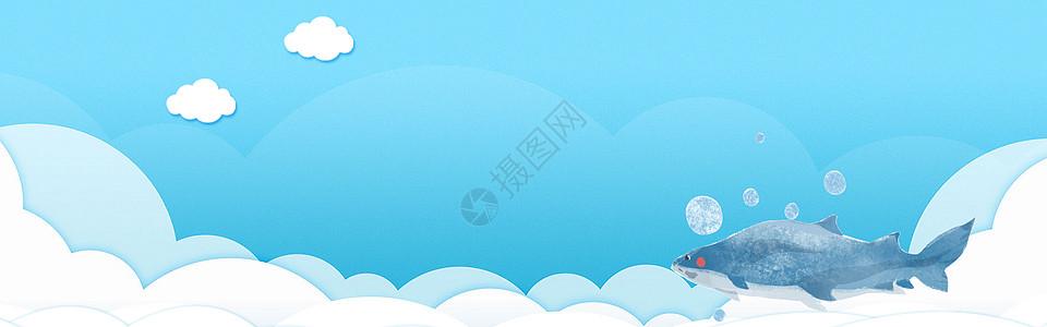 可爱蓝色海洋海报背景图片