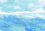 海天一线手绘插画背景图片