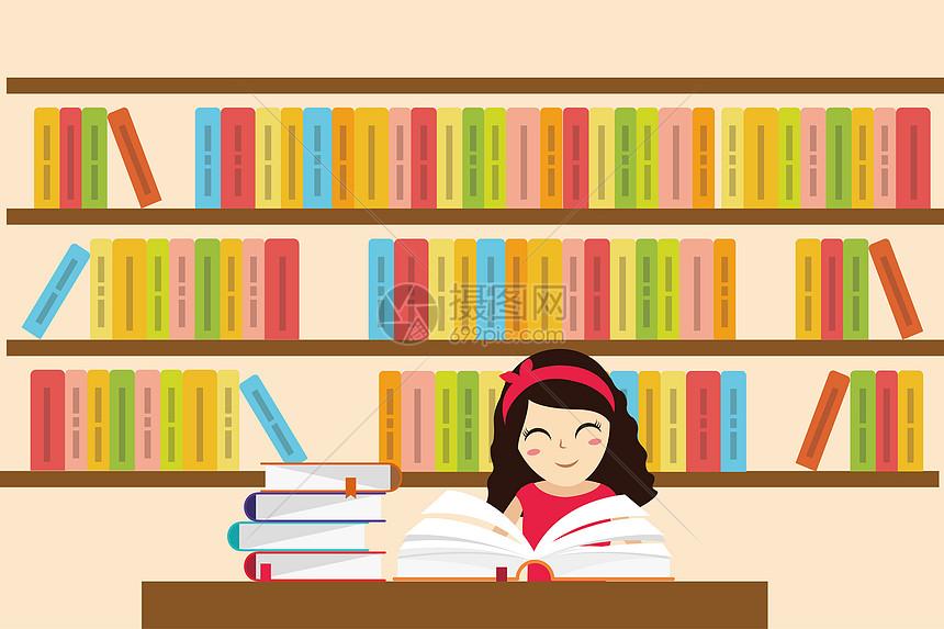 小女孩在图书馆看书图片
