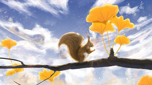 秋天的松鼠插画图片