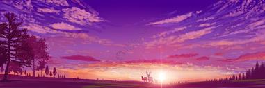 手绘日出时分的朝霞全景图片