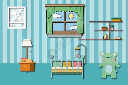 婴儿房间矢量图图片