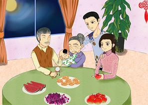 新年团聚插画图片