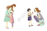 母女亲子插画图片