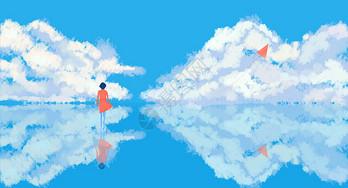 追风筝的女孩唯美插画图片