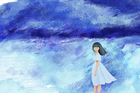 海边拍照的小男孩手绘插画图片