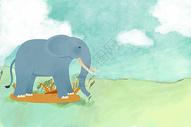 草地上的大象手绘插画图片